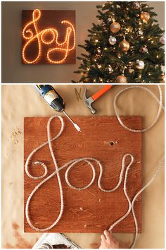 Bring a little joy to your living room this holiday season. This LED rope light sign just requires a few materials to make. Click through for everything you need.