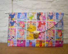 """Custom Handmade Envelope Clutch """"Disney Princess Magazine"""" theme Handmade Envelopes, Handmade Bags, Valentine Day Gifts, Valentines, Special Occasion Shoes, Envelope Clutch, Decoupage, Comic Books, Magazine"""