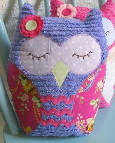 Purple Vintage Inspired Chenille Owl Plush http://www.etsy.com/listing/54329252