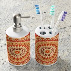 Red Yellow Orange Summer Sun Mandala Pattern Soap Dispenser And Toothbrush Holder - retro gifts style cyo diy special idea