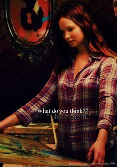 Katniss talking about Peeta's paintings.