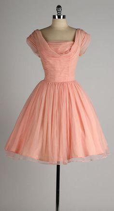 vintage 1950s EMMA DOMB pink chiffon ruched dress