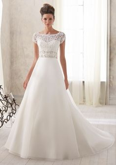 Bridal Dress From Blu By Mori Lee Dress Style 5212 Venice Lace with Crystal Embroidered Midriff on Organza $899.00