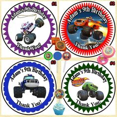 Blaze & The Monster Machine Birthday Stickers 1 Sheet Favor Sticker Personalized #Personalized #BirthdayChild