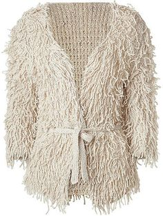 ShopStyle: CLARE TOUGH Pearl Belted Shredded Silk Knit Cardigan
