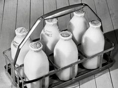 Milkman. Milk bottles. When I was a kid milk came in bottles delivered by the Borden's milkman twice a week.  No homogenization. Mom poured off the heavy cream which collected at the top to use in coffee. Empty bottles were washed and placed on the porch to be swapped for the new deliveries. Mom placed a gizmo with several tabs, each tab representing a different product, into one of the empties to let the milkman know what she needed. When she wasn't looking, I'd flip up the chocolate milk…