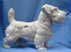 """RARE 1930s Hubley cast iron door stop Sealyham terrier 14"""" from morninglineantiques on Ruby Lane"""