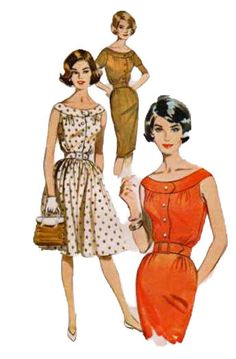 Butterick 9791 1960s Misses Shallow Neck  Ring Collar Dress Pattern Slim or Full Skirt womens vintage sewing pattern by mbchills