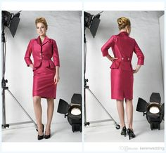 Wholesale Mother of the Bride Dresses - Buy Sexy Knee Length Mother Of The Bride Dresses 2014 Spring Ruched Satin V Neck Zipper Groom Mother Gowns With Jacket 3/4 Long Sleeve DX113, $104.5   DHgate