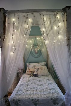 Awesome Canopy Bed Ideas With Beautiful Twinkle Lighting Decor And White Lace Netting Mosquito With Luxury Bed Canopy And Canopy Over Girls Bed Fascinating Canopy Bed Design For Teenage Girl Bedroom Ideas