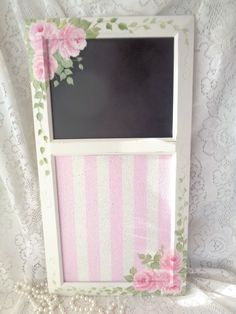 CHALKBOARD BULLETIN BOARD hp rose chic shabby vintage cottage hand painted pink  #WOODNoBrand