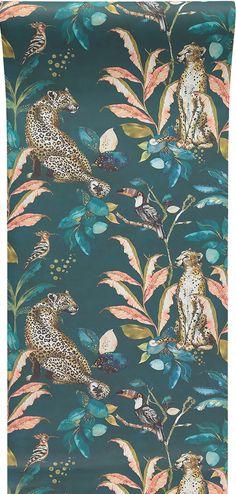 Laura Hyden 'Cheetah Leopard' wallpaper Teal designed for Graduate Collection Cheetah Wallpaper, Crazy Wallpaper, Animal Wallpaper, Wallpaper Roll, Pattern Wallpaper, Teal Tropical Wallpaper, Classic Wallpaper, Feature Wallpaper, Sunflower Wallpaper