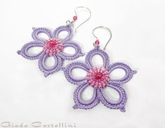 RESERVED for J. - Earrings, flower, rigid, Vegan, crochet, embroidered, lavender, lilac, wisteria, cyclamen, crystals, stainless steel
