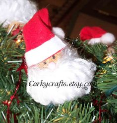 Santa Claus wine cork tree ornament/bottle by Corkycrafts on Etsy, $4.00