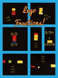 Understanding fractions is a main focus for Common Core State Standards math. In order to grasp all of the skills leading up to many fraction concepts, students use Legos 4th Grade Fractions, Adding And Subtracting Fractions, Teaching Fractions, Equivalent Fractions, Teaching Math, Teaching 5th Grade, Fifth Grade Math, Lego Math, Math Classroom