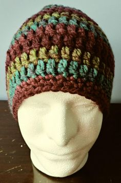 Crochet Beanie Burgundy Turquoise and Olive adult