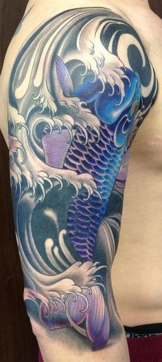 Japanese water and koi tattoo conver-up   #animaltattoo #japanesewaterflowers #Japanesewatertattoos