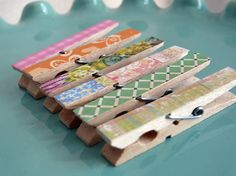 Decorative clothes pins with scrapbook paper