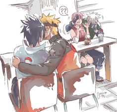 Sasunaru. I freaking LOVE Kakashi's reaction, covering Sakura's eyes xD hahahaha