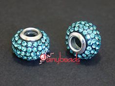 Aquamarine Rhinestones Crystal Pandora Style Bead 15x10mm 1pcs
