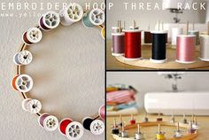 Embroidery Hoop Thread Rack Tutorial Supplies Embroidery hoops (one for each thread rack) 1/8″ dowels Wood glue Blade Instructions 1- Start by cutting the dowels down. For my spools, I cut 3 1/4″ pieces. For my bobbins, I cut 1 1/2″ pieces. To start, just make an indentation with the blade all the way around …
