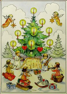 Adventskalender - Vintage Advent Calendar - Germany, unknown illustrator, but printed about 1948 by Meindl & Kittsleinter, München-Pasing