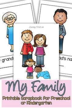 Help your preschooler of kindergartner explore the my family preschool with this cut and paste scrapbook.