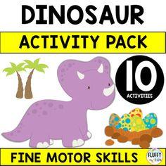 Dinosaur Activities for Preschool (Distance Learning) by Fluffy Tots Dinosaurs Preschool, Dinosaur Activities, Baby Dinosaurs, Motor Activities, Dinosaur Printables, Shape Matching, Weird Pictures, Fine Motor Skills, Little Ones