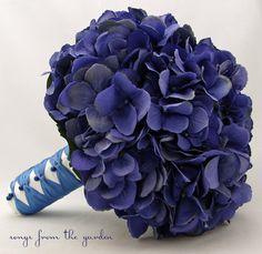 Wedding Bouquet Blue Silk Hydrangea Grooms Boutonniere - Silk Flower Bridal Bouquet - Choose Your Custom Color Silk Flower Hydrangea via Etsy