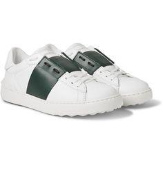 Valentino - Striped Leather Sneakers MR PORTER