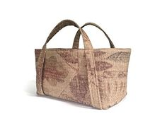 Small Project Knitting Tote Bag Beige Rust Woven Upholstery 12 x 7 x 6 Fully Lined 1 Inside Pocket *** You can get additional details at the image link. #Handmadehandbags