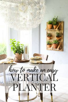This DIY vertical wall planter is so gorgeous, and so simple! Great ideas for making a simple vertical planter for all of your favorite houseplants, and you can do it by yourself in an afternoon! Diy Wall Shelves, Hanging Shelves, Diy Hanging, Hanging Plants, Diy House Projects, Diy Projects To Try, Weekend Projects, Wood Projects, Craft Projects