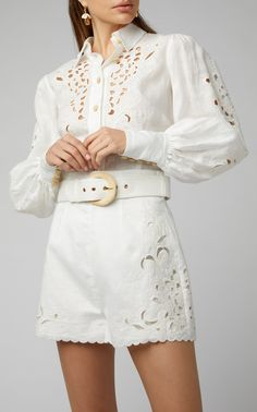 Broderie Anglaise Linen Shirt by ZIMMERMANN Now Available on Moda Operandi