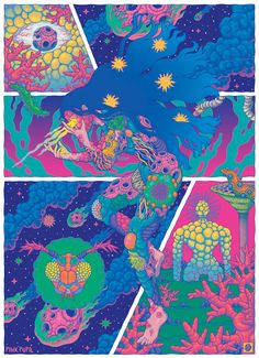 From the massive to the microscopic, Bang Sangho illustrates the cosmic primordial soup Psychedelic Experience, Psychedelic Art, Avatar Poster, Pop Surrealism, Illustrations And Posters, Trippy, Retro, Cosmic, Cute Art