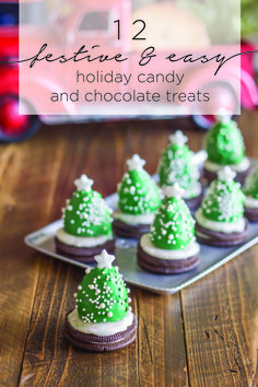 Choose from 12 different festive & easy holiday candy and chocolate treats to make with your kids this Christmas. These recipes can be assembled using store bought ingredients (like peanut butter cup trees or Oreo snowmen) and take just a few ingredients to mix up into festive mini desserts that will impress everyone at the party.