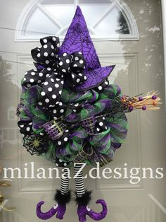 Halloween Deco Mesh Wreath, Purple & Green Mesh Wreath, Black and White Spooky Decorations, Flying Witch with Boots Broom and Hat