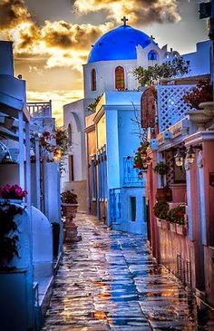 Beautiful Greek Street in Sunset - Greece