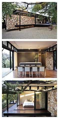 Johannesburg studio GASS Architecture have recently completed the Westcliff Pavilion. Located in Johannesburg, South Africa. This stunning residence combines stunning interior with the natural exterior of the surrounding area. The trees and shrubbery provide privacy and closure whilst allowing a roomy living experience.
