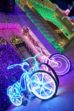 Decorated bikes with lights! Beautiful sight. I'd like to do this...