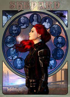 Rue Shepard Art Nouveau by elmjuniper on DeviantArt Mass Effect 1, Mass Effect Universe, Art Nouveau, Saga, Commander Shepard, First Humans, Video Game Art, Dragon Age, Geek Stuff