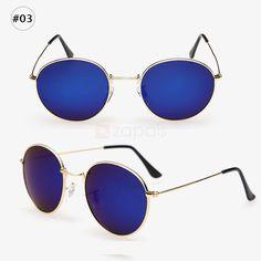 Vintage Optical Polarized Lens UV400 Sunglasses Colorful Round Mirror Full Frame Resistant Eyewear