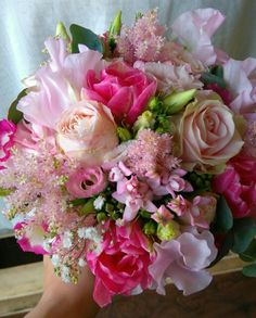 peony roses, astilbe, tulips, lizzianthus, sweet pea mix bridal bouquet