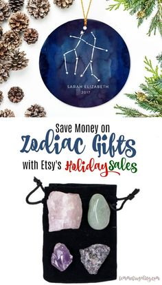 I really love the Zodiac ornament. The healing crystals for each zodiac sign are pretty cool, too! Going to have to check out these Black Friday sales on Etsy.