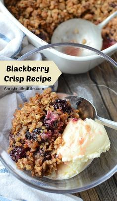 An easy to make delicious dessert made with fresh blackberry. Your family will be asking for seconds of this wonderful blackberry crisp treat. - Blackberries - Ideas of Blackberries Blackberry Dessert Recipes, Fruit Recipes, Desert Recipes, Cooking Recipes, Blueberry Recipes, Bar Recipes, Chicken Recipes, Blackberry Crumble, Fresh Blackberry Crisp Recipe