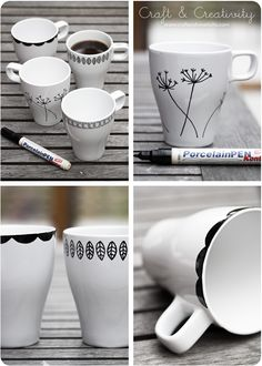 How To Design Your Own Mugs - have been thinking of doing this for my other half for Valentine's day. And yes, you can get the porcelain pens in colors, not just black!