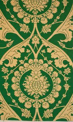 Gainford Green Damask - 100% Cotton. Watts own exclusive design. 15th Century design used by Temple Moore in many of his own designs.  Available from www.wattsandco.com