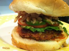 Spicy Red Bean Burger (he uses regular toppings plus canned, crunchy onion rings)