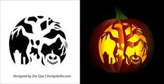 Skull on flames free scary halloween pumpkin carving for Spooky owl pumpkin stencil