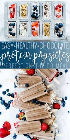 protein shake to gain muscle Chocolatey, high protein, low sugar perfect on the go breakfast, snack, or dessert. These protein popsicles are a delicious treat that will fill you up and you wont feel guilty about! High Protein Snacks, High Protein Recipes, Protein Foods, Healthy Snacks, Healthy Cupcakes, Healthy Cereal, Protein Cake, Protein Muffins, Protein Cookies