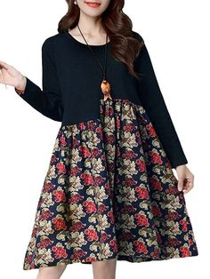Casual dress over 60 vintage women patchwork floral printing long sleeve loose dress #casual #dresses #3/4 #sleeve #casual #dresses #for #man #casual #dresses #long #length #casual #dresses #with #booties
